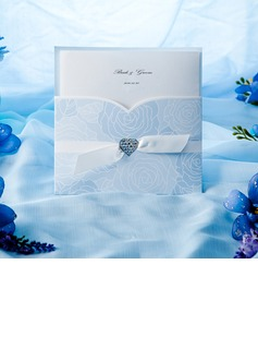 Personalized Classic Style Wrap & Pocket Invitation Cards With Bows (Set of 50)