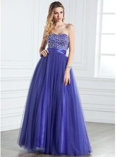 A-Line/Princess Sweetheart Floor-Length Satin Tulle Quinceanera Dress With Ruffle Beading