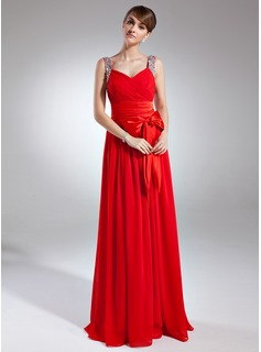 A-Line/Princess V-neck Floor-Length Chiffon Charmeuse Holiday Dress With Ruffle Beading Sequins Bow(s)