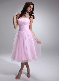 A-Line/Princess Sweetheart Tea-Length Tulle Charmeuse Homecoming Dress With Ruffle (022009569)