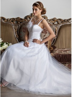 A-Line/Princess Sweetheart Court Train Satin Tulle Wedding Dress With Ruffle Flower(s)