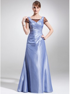 A-Line/Princess Square Neckline Floor-Length Taffeta Tulle Mother of the Bride Dress With Ruffle Lace