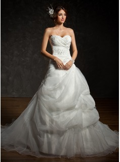 Ball-Gown Sweetheart Chapel Train Organza Satin Wedding Dress With Ruffle Beading Appliques Lace Sequins