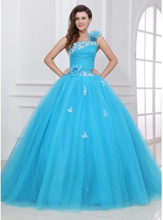 Ball-Gown One-Shoulder Floor-Length Tulle Quinceanera Dress With Ruffle Lace Flower(s) (021017437)