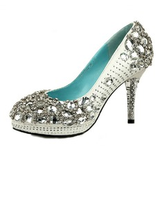 Women's Satin Cone Heel Closed Toe Platform Pumps With Rhinestone Jewelry Heel