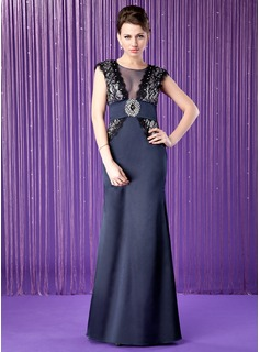 Sheath Scoop Neck Floor-Length Satin Tulle Mother of the Bride Dress With Lace Beading Sequins