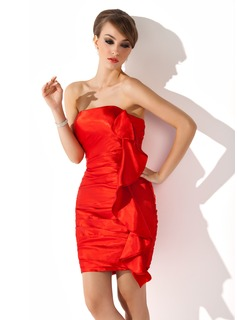 Sheath/Column Strapless Short/Mini Charmeuse Cocktail Dress With Cascading Ruffles