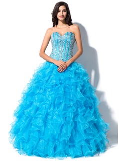 Ball-Gown Sweetheart Floor-Length Organza Satin Quinceanera Dress With Beading Sequins
