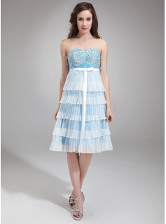 Empire Sweetheart Knee-Length Organza Satin Homecoming Dress With Embroidered Beading Sequins Bow(s) Pleated