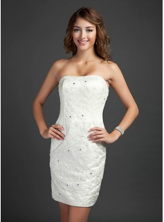 Sheath Strapless Short/Mini Satin Lace Cocktail Dress With Beading