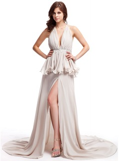 A-Line/Princess V-neck Court Train Chiffon Prom Dress With Lace Beading Split Front Cascading Ruffles