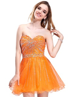 A-Line/Princess Sweetheart Short/Mini Taffeta Tulle Prom Dress With Beading Sequins (018043937)