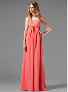 Empire Strapless Floor-Length Chiffon Maternity Bridesmaid Dresses With Lace