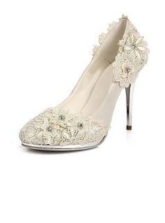 Satin Stiletto Heel Closed Toe Pumps Wedding Shoes With Rhinestone Satin Flower (047020106)