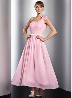 A-Line/Princess One-Shoulder Ankle-Length Chiffon Charmeuse Holiday Dress With Ruffle Flower(s)