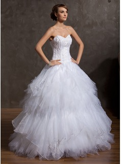 Ball-Gown Sweetheart Floor-Length Organza Satin Tulle Wedding Dress With Embroidery Beading