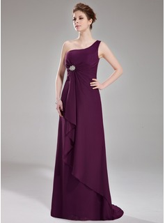A-Line/Princess One-Shoulder Sweep Train Chiffon Bridesmaid Dress With Ruffle Crystal Brooch