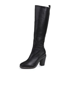 Real Leather Chunky Heel Knee High Boots With Chain shoes
