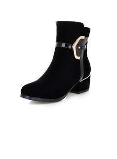 Suede Low Heel Ankle Boots shoes