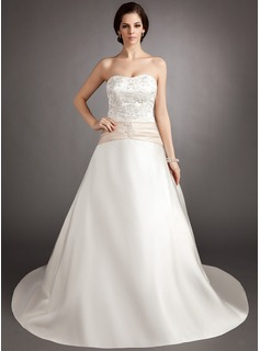 A-Line/Princess Strapless Court Train Satin Wedding Dress With Embroidery Sash Beading Bow(s)