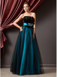A-Line/Princess Strapless Floor-Length Tulle Charmeuse Prom Dress With Beading Feather Sequins
