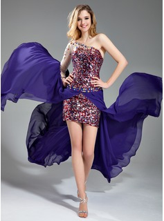 Sheath/Column One-Shoulder Asymmetrical Detachable Chiffon Tulle Sequined Prom Dress With Beading