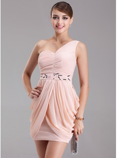 Sheath One-Shoulder Short/Mini Chiffon Cocktail Dress With Ruffle Beading