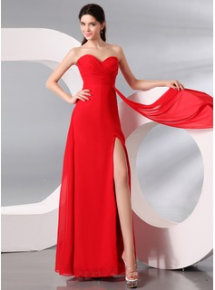 Sheath/Column Sweetheart Floor-Length Chiffon Evening Dress With Ruffle Split Front