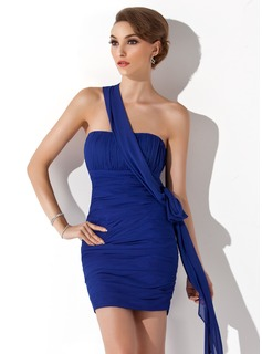 Sheath One-Shoulder Short/Mini Chiffon Holiday Dress With Ruffle