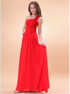 A-Line/Princess One-Shoulder Floor-Length Chiffon Holiday Dress With Ruffle Flower(s) (020014395)