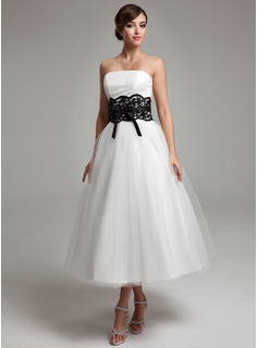 A-Line/Princess Strapless Tea-Length Satin Tulle Wedding Dress With Lace Sash Beading Bow