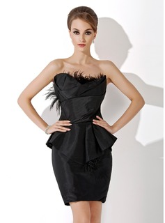 Sheath Scalloped Neck Knee-Length Taffeta Cocktail Dress With Ruffle Feather (016021161)