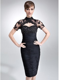 Sheath High Neck Knee-Length Chiffon Tulle Mother of the Bride Dress With Ruffle Lace Beading