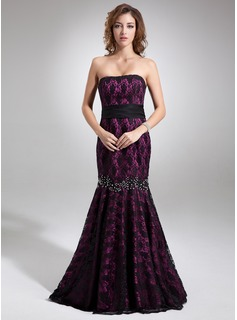 Mermaid Strapless Sweep Train Charmeuse Lace Evening Dress With Beading