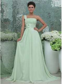A-Line/Princess One-Shoulder Court Train Chiffon Prom Dress With Ruffle Lace Beading Flower(s) (018017400)