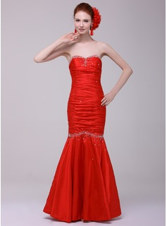 Mermaid Sweetheart Floor-Length Satin Evening Dress With Ruffle Beading (017016152)