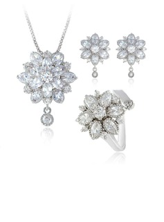 Zircon/Platinum Plated Ladies' Jewelry Sets