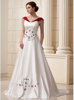 A-Line/Princess Off-the-Shoulder Chapel Train Satin Wedding Dress With Beading Flower