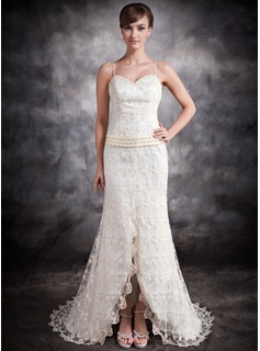 Trumpet/Mermaid Sweetheart Asymmetrical Satin Lace Wedding Dress With Beading Split Front