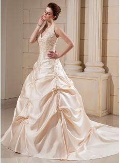 Ball-Gown Halter Cathedral Train Satin Wedding Dress With Embroidery Beading