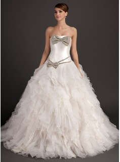 Ball-Gown Strapless Chapel Train Organza Satin Wedding Dress With Beading Bow(s) Cascading Ruffles