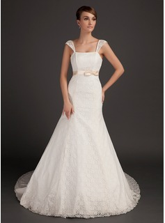 Mermaid Chapel Train Satin Lace Wedding Dress With Sash