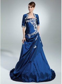 A-Line/Princess Strapless Sweep Train Taffeta Quinceanera Dress With Ruffle Lace Beading Sequins