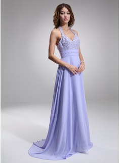 A-Line/Princess Halter Court Train Chiffon Evening Dress With Ruffle Beading (017016877)