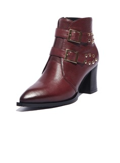 Real Leather Chunky Heel Ankle Boots With Buckle shoes