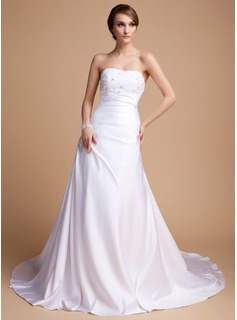 A-Line/Princess Sweetheart Chapel Train Charmeuse Wedding Dress With Beadwork (002014492)