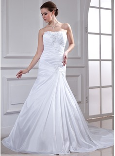 Trumpet/Mermaid Sweetheart Watteau Train Taffeta Wedding Dress With Ruffle Beading Appliques Lace Sequins