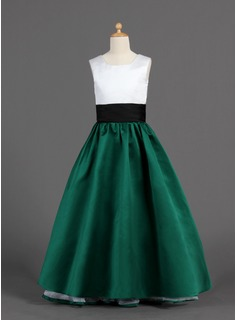 A-Line/Princess Square Neckline Floor-Length Satin Flower Girl Dress With Ruffle Sash