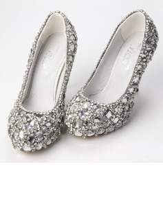 Women's Satin Cone Heel Closed Toe Platform Pumps With Rhinestone Crystal Heel (047033927)