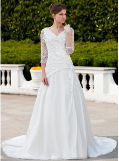 A-Line/Princess V-neck Chapel Train Satin Tulle Wedding Dress With Ruffle Lace Beadwork (002011625)